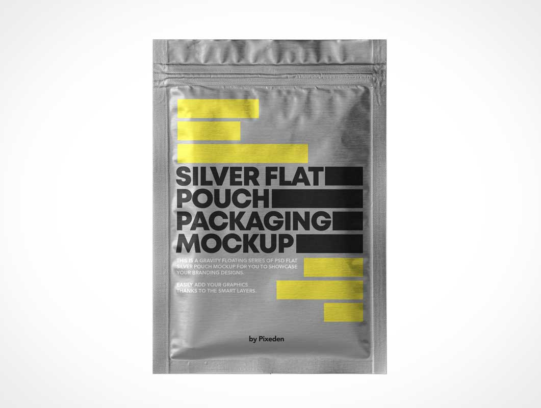 Vacuum Sealed Foil Pouch Snack Packaging PSD Mockup