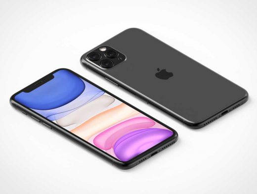 iPhone 11 Pro Isometric View Front Display & Back Cameras PSD Mockup