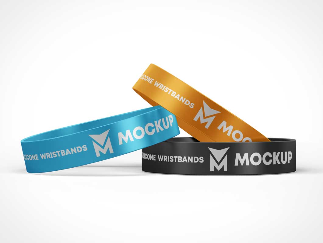 3 Brand-able Trade Show Event Wristbands PSD Mockup