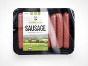 Beef Sausage Food Packaging PSD Mockup