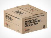 Cardboard Shipping Box PSD Mockup