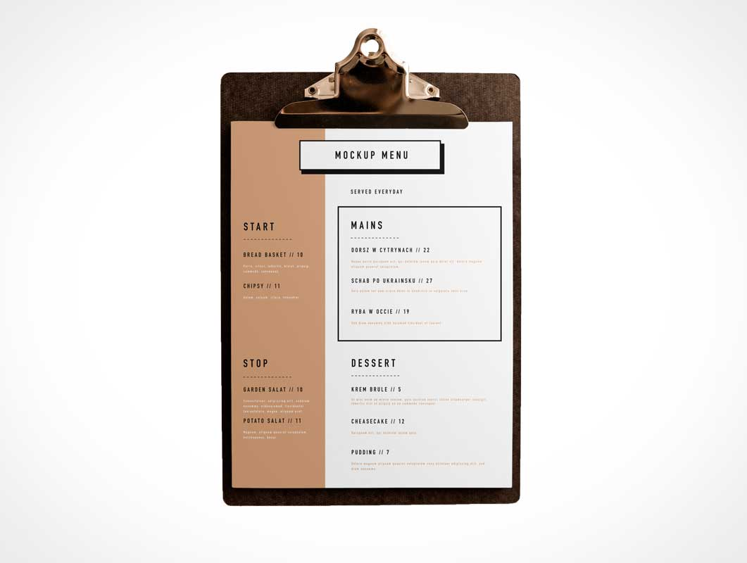 Clipboard & A4 Menu PSD Mockup