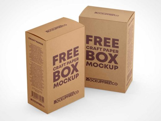Craft Paper Gift Boxes PSD Mockup