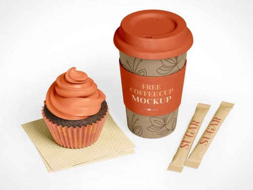 Cupcake & Sealed Coffee Cup PSD Mockup