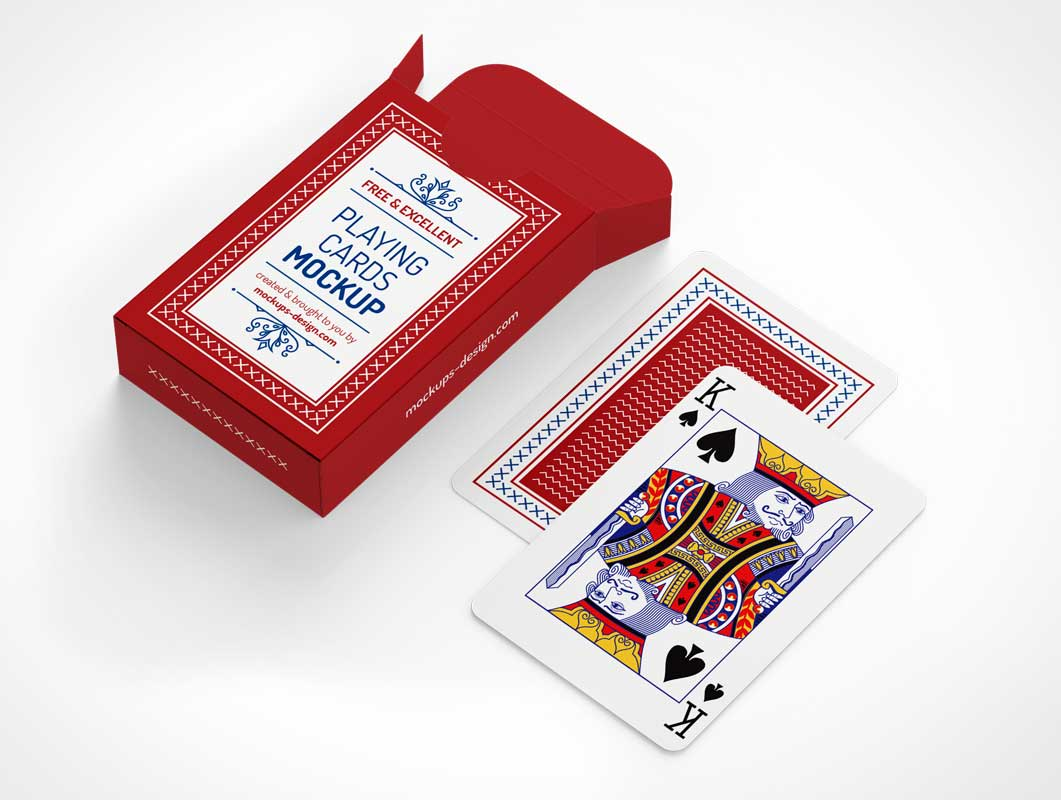 Deck Playing Cards & Box Packaging PSD Mockup