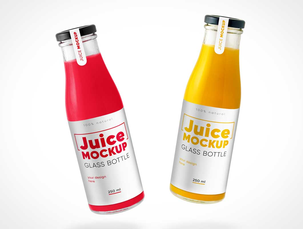 Floating Glass Juice Bottles PSD Mockup