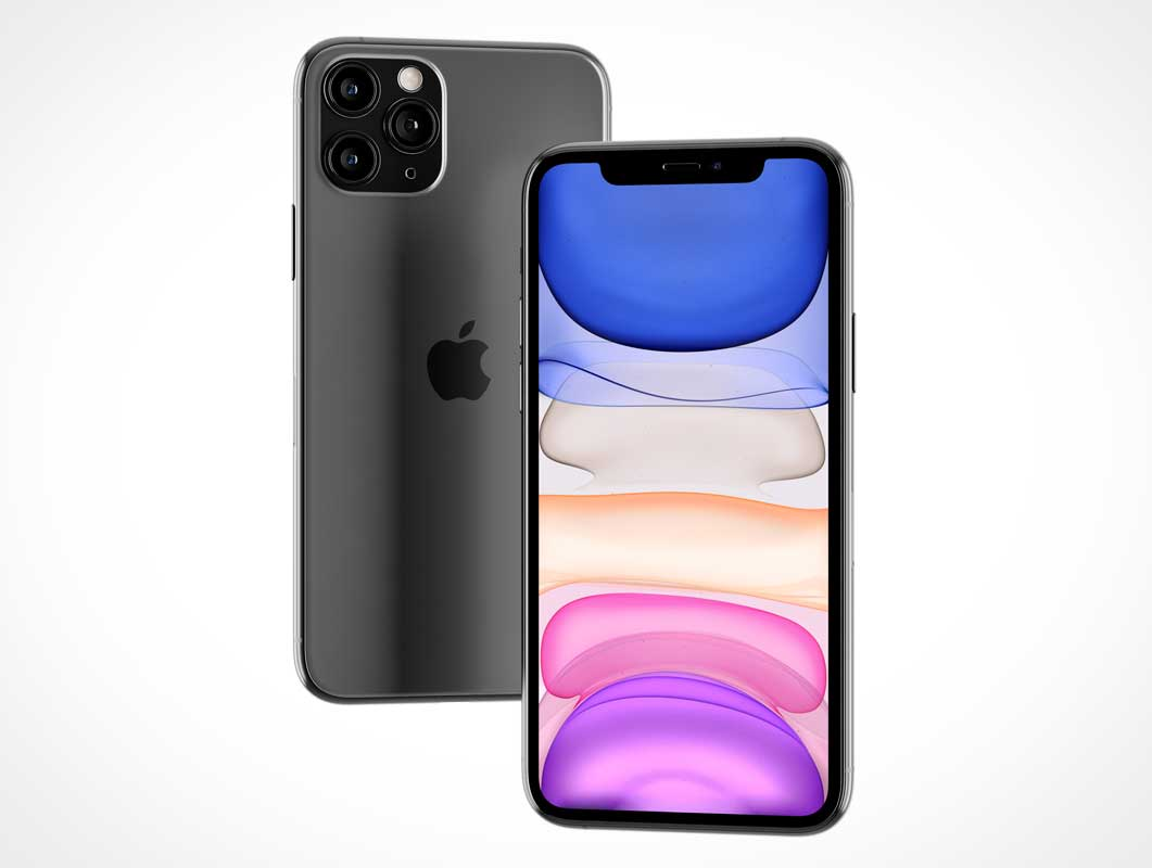 Floating iPhone 11 Pro Max Display & Back Cover PSDMockups
