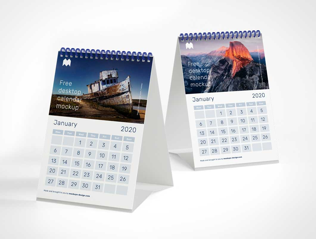 Folding Office Desk Tent Calendar PSD Mockup