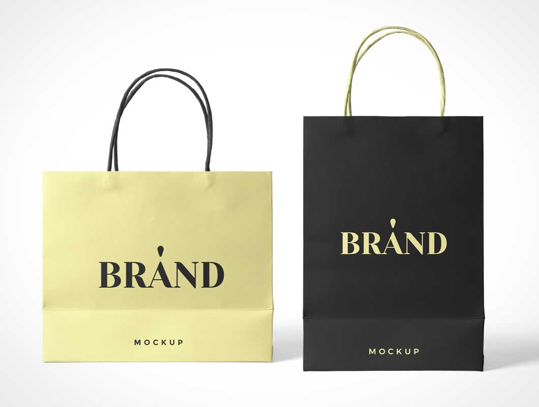 Paper Boutique Shopping Bag & Handle PSD Mockup