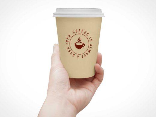 Paper Coffee Cup & Lid PSD Mockup