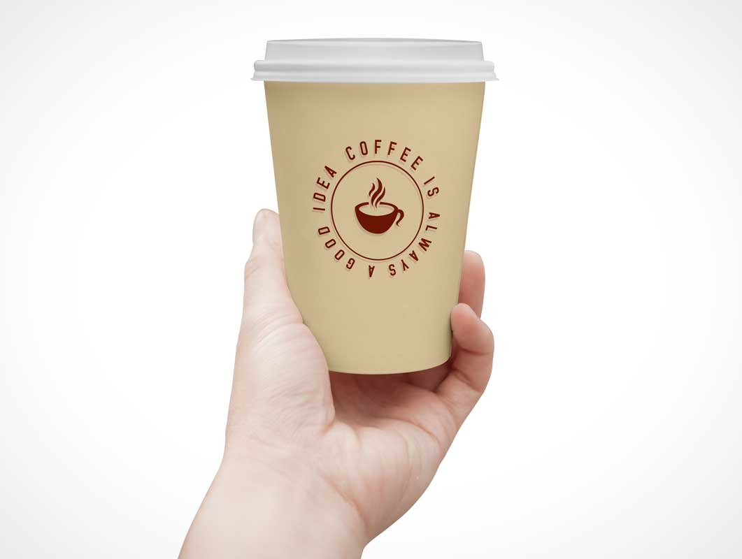 Paper Coffee Cup & Lid PSD Mockup