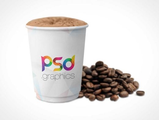 Paper Coffee Cup & Unground Beans PSD Mockup