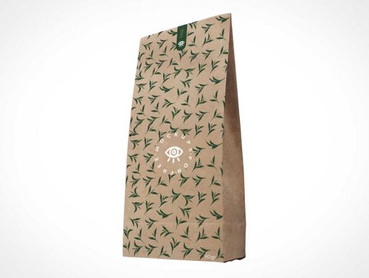 Seal Strip Flat Bottom Kraft Brown Paper Sack PSD Mockup