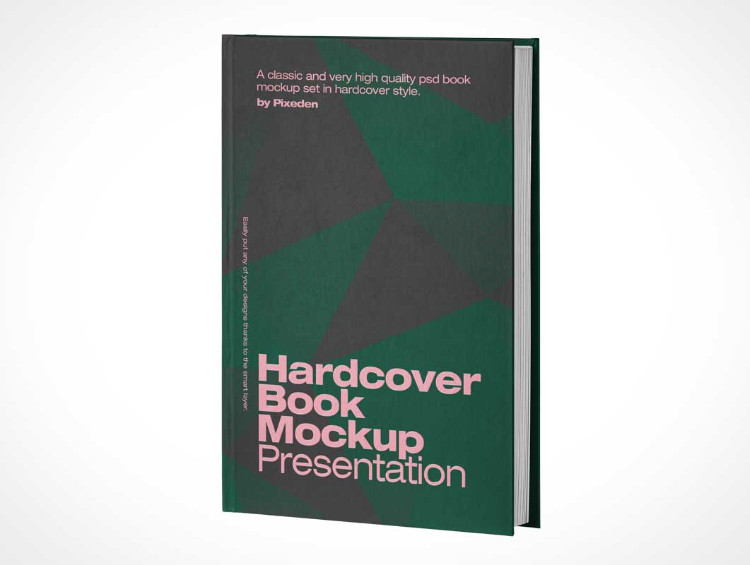 Standing Front Hardcover Book PSD Mockup