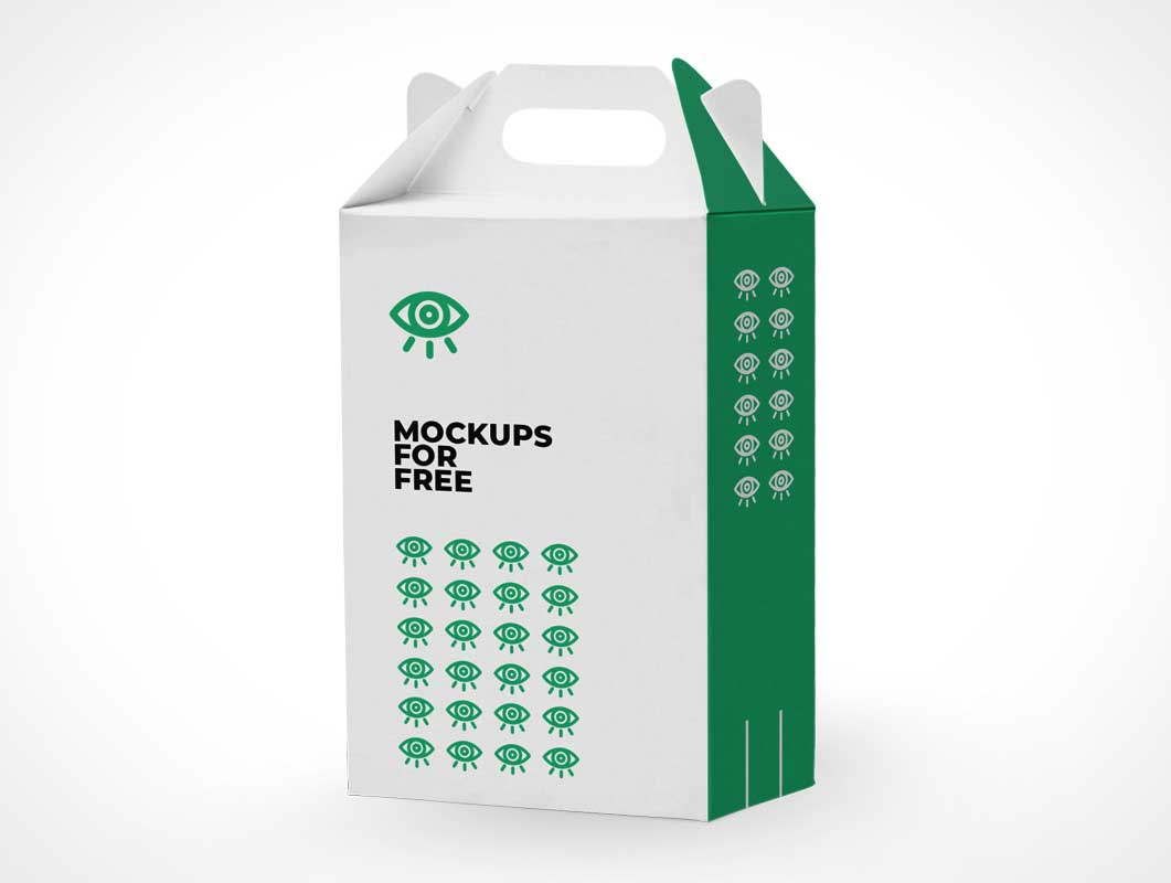Tall Carrier Cardboard Box PSD Mockup
