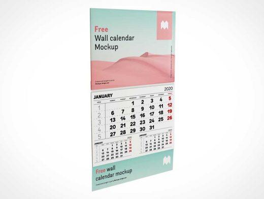 Wall Mounted Panel Calendar PSD Mockup