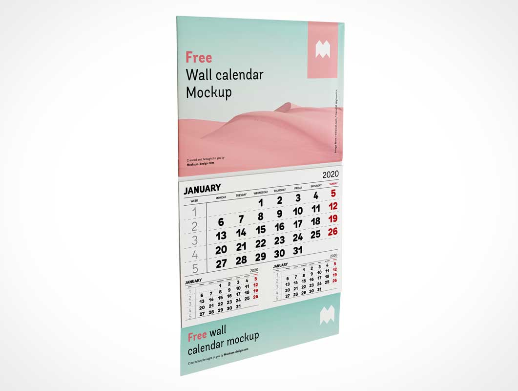 Wall Mounted Panel Calendar PSD Mockup