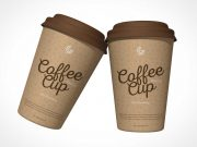 16oz Paper Coffee Cup & Plastic Dome Lid PSD Mockup