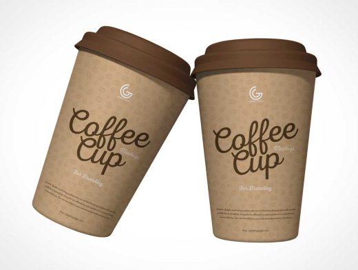 16oz Paper Coffee Cup & Plastic Dome Lid PSD Mockup