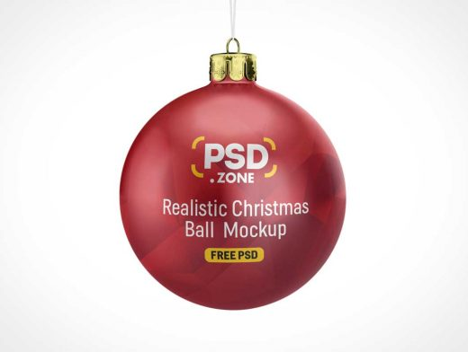 Christmas Ball Tree Ornament PSD Mockup