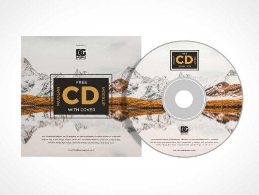 Compact Music CD & Sleeve Jacket PSD Mockup