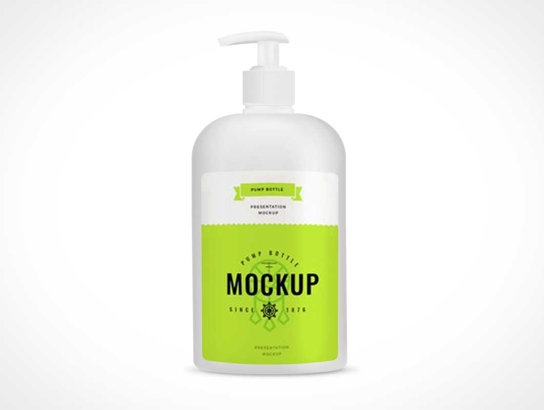 Cosmetic Lotion HDPE Pump Bottle PSD Mockup