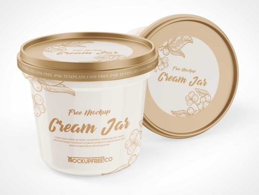 Ice Cream Jar Container PSD Mockup