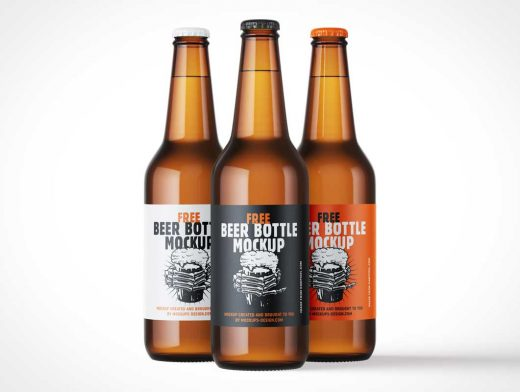 Long Neck Brown Glass Beer Bottle PSD Mockup