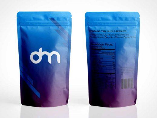Sealed Ziplock Foil Pouch Front & Back PSD Mockup