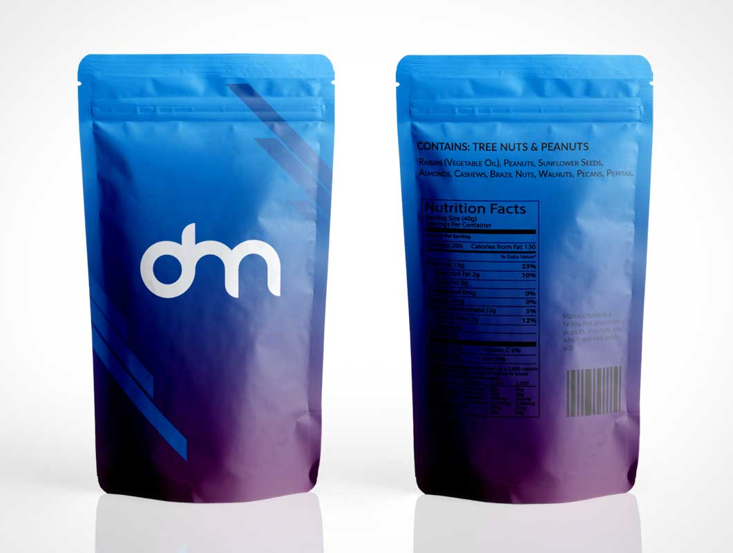 Sealed Ziplock Foil Pouch Front & Back PSD Mockup