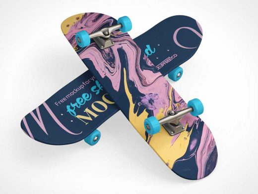 Skateboard Deck & Deck Decals PSD Mockup