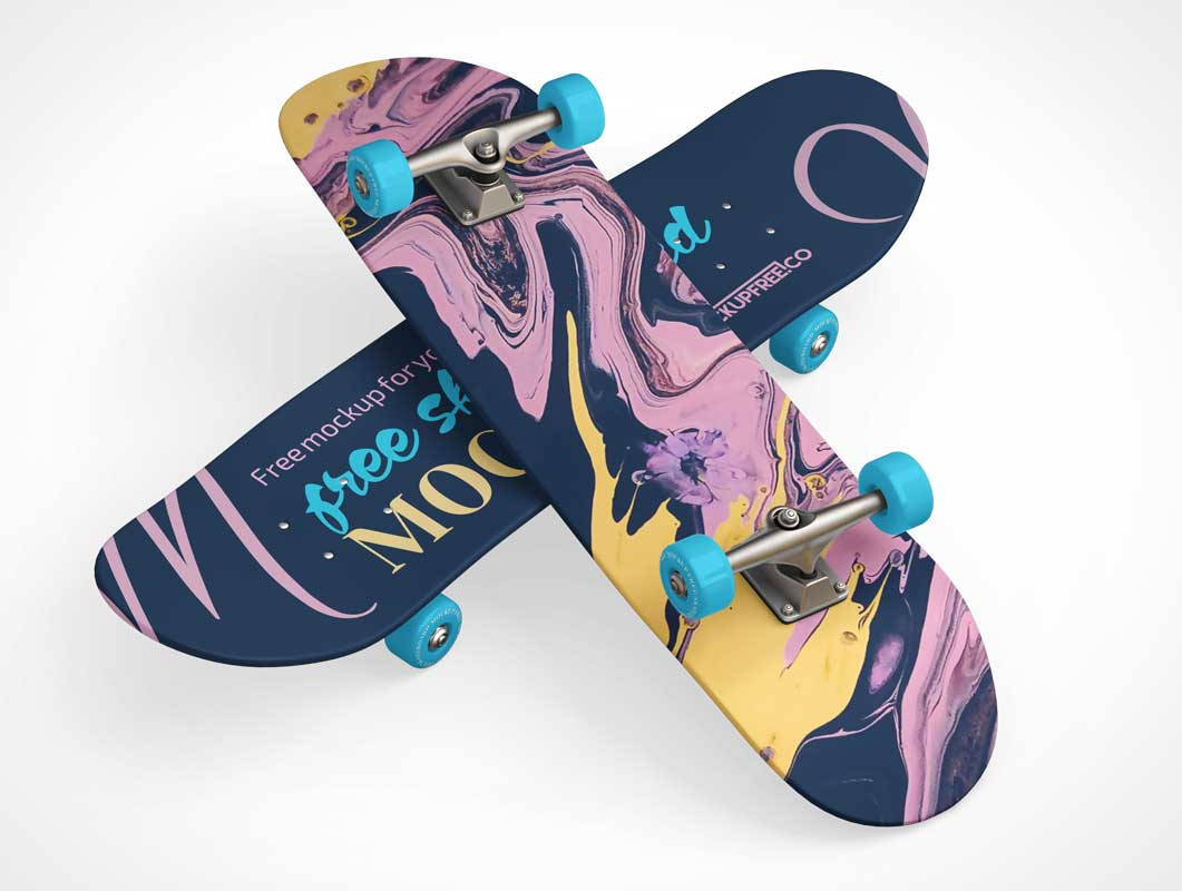 Skateboard Deck & Deck Decals PSD Mockup