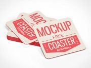 Square Drink Coaster Stack PSD Mockup