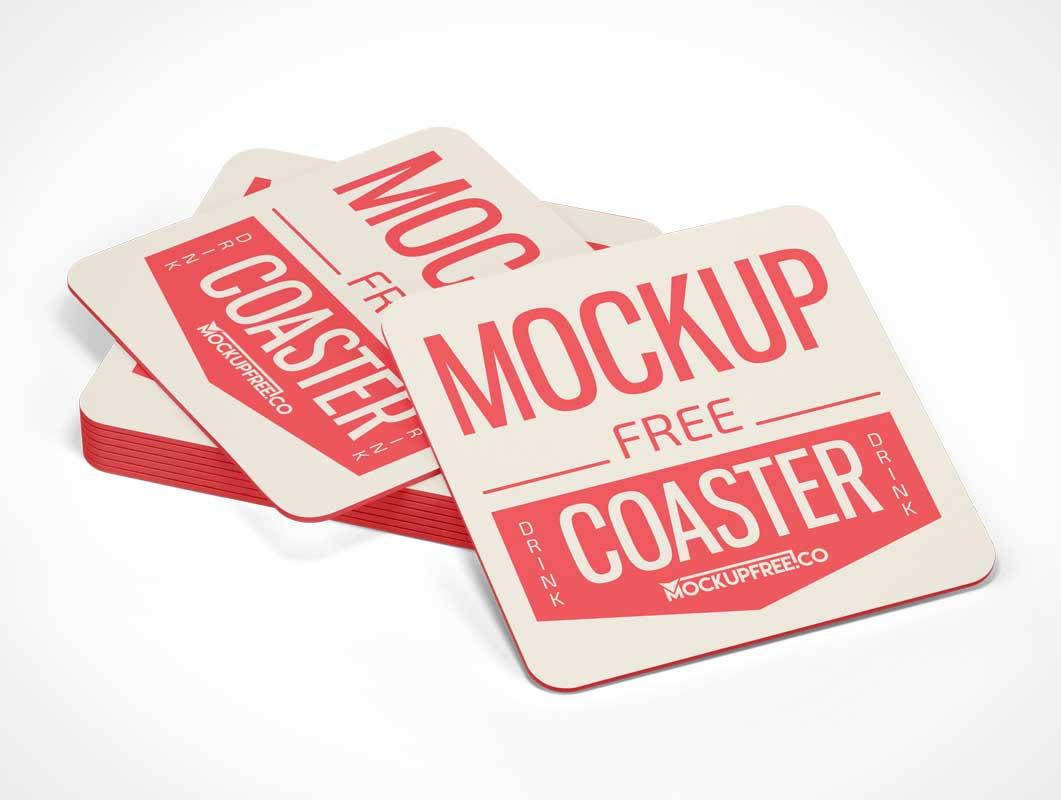 Square Drink Coaster Stack PSD Mockup