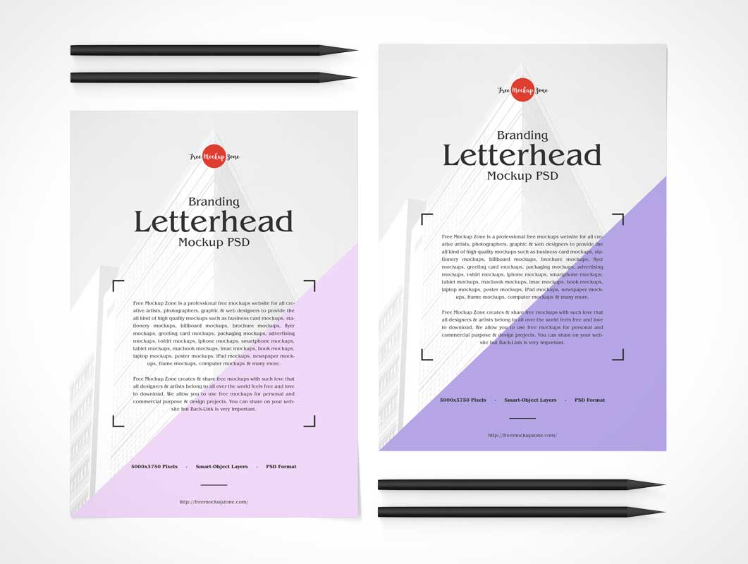 Stationery Letterhead A4 Paper & Stylus PSD Mockup