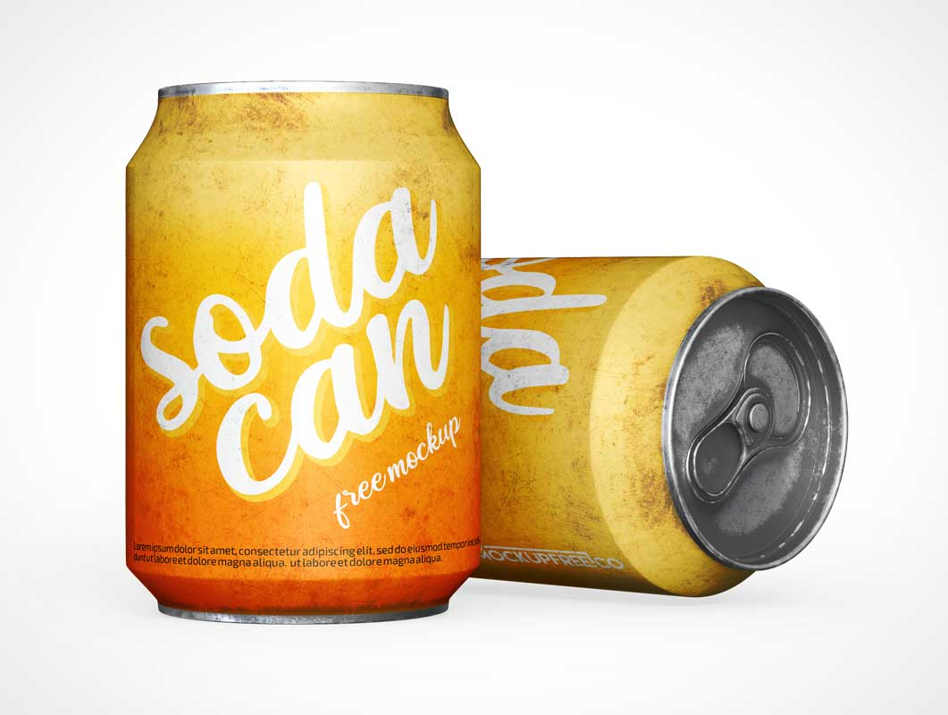 Stubby Soda Can & Pull Tab PSD Mockup