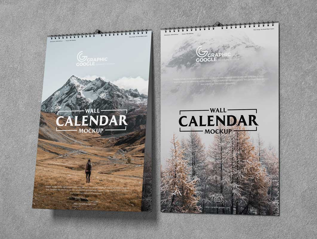 Wall Hung 11x17 Calendars PSD Mockup