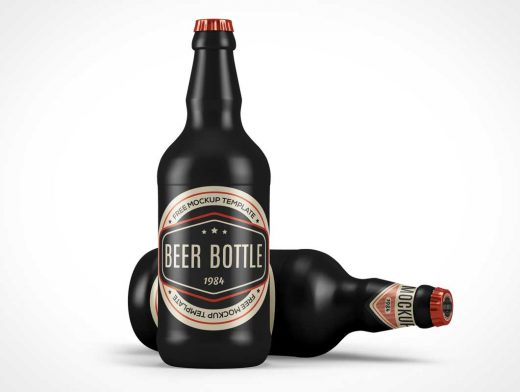 Ceramic Glass Beer Bottle PSD Mockup
