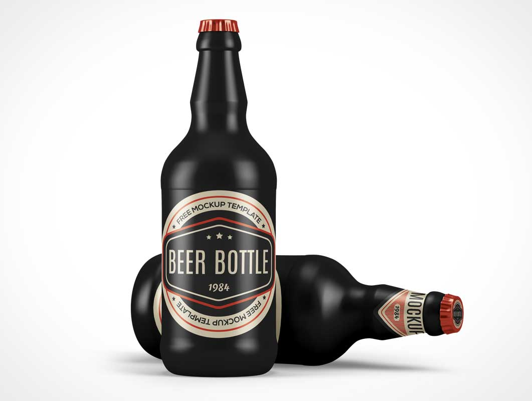 Ceramic Glass Beer Bottle PSD Mockup