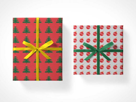 Christmas Gift Box Packages PSD Mockups