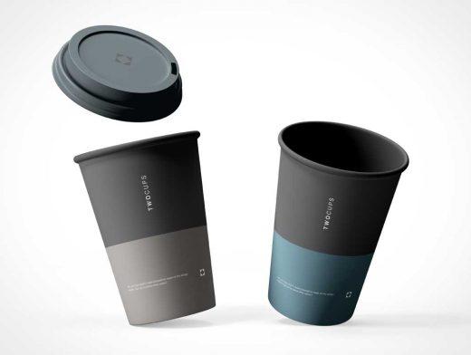 Floating Coffee Cups & Sip Lid PSD Mockup