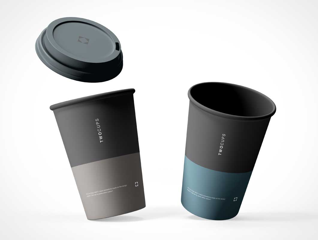 Floating Coffee Cups & Sip Lid PSD Mockup