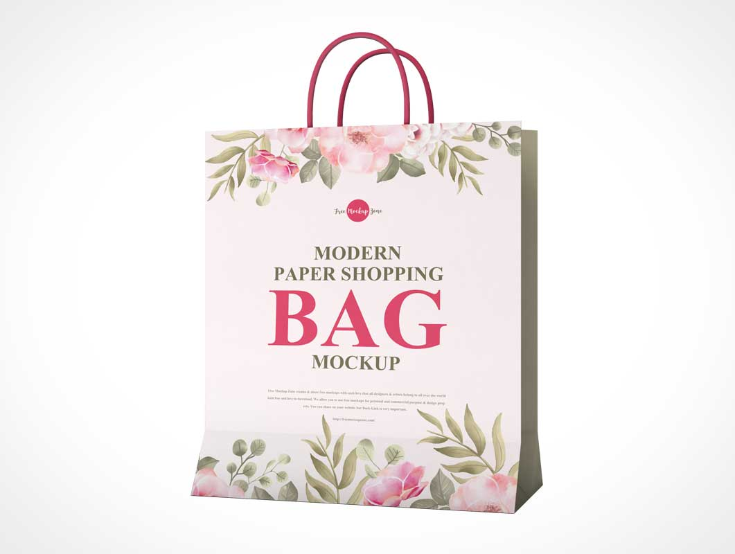 Foldable Paper Shopping Bag & Carry Handle PSD Mockup