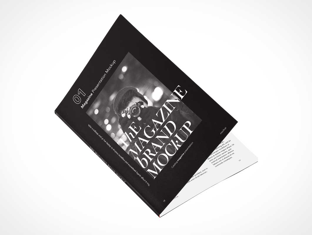 Glue Bound Softcover Magazine PSD Mockup