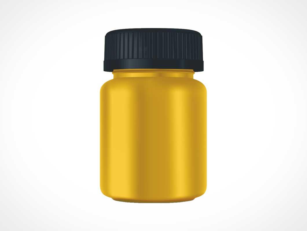 Medicine Pill Bottle & Twist Cap PSD Mockup