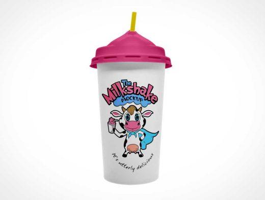 Milkshake Cup & Dome Lid PSD Mockup