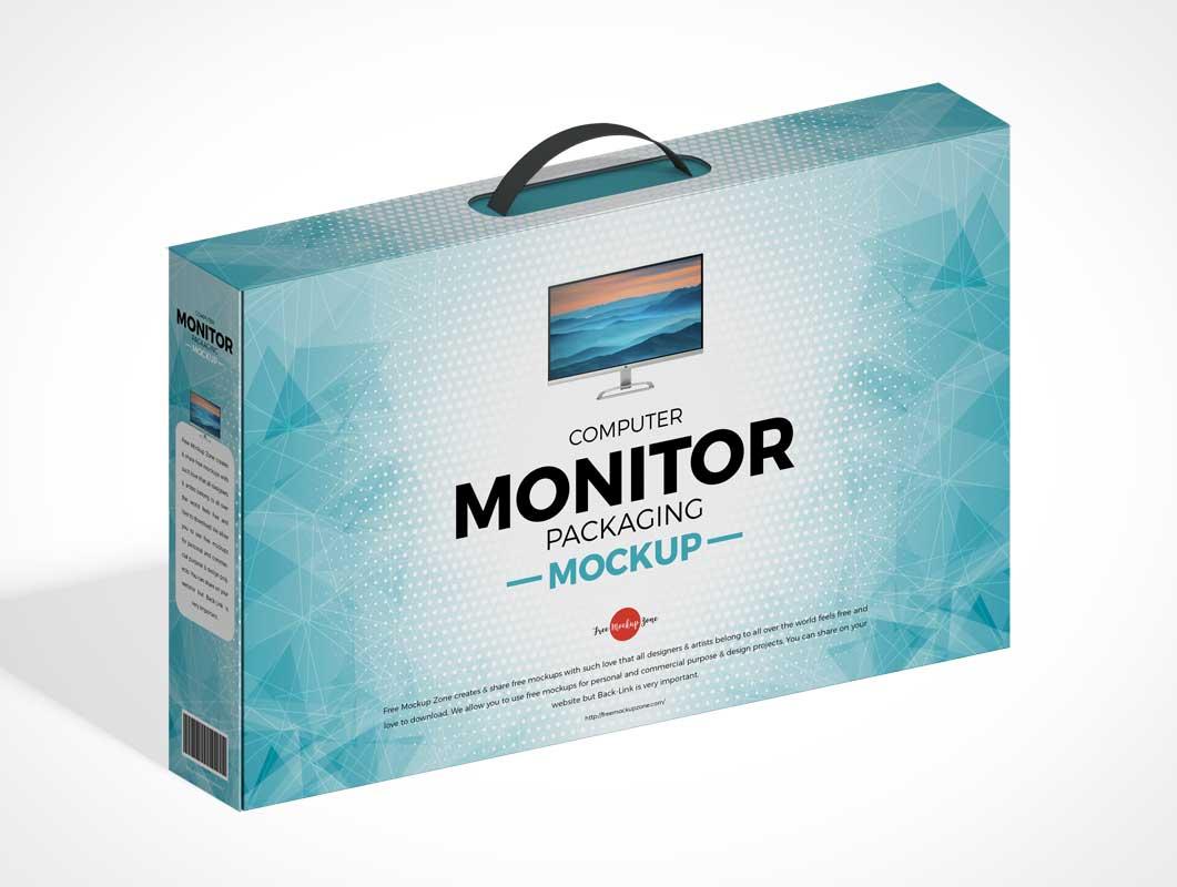 Monitor Box Packaging PSD Mockup