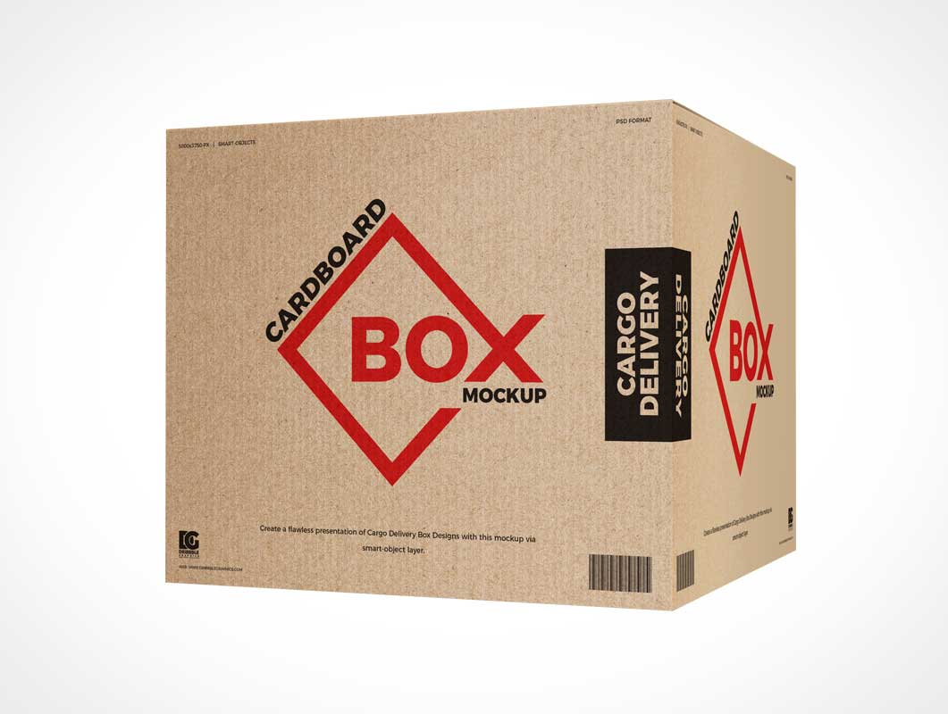 Recycled Cardboard Shipping Box PSD Mockup