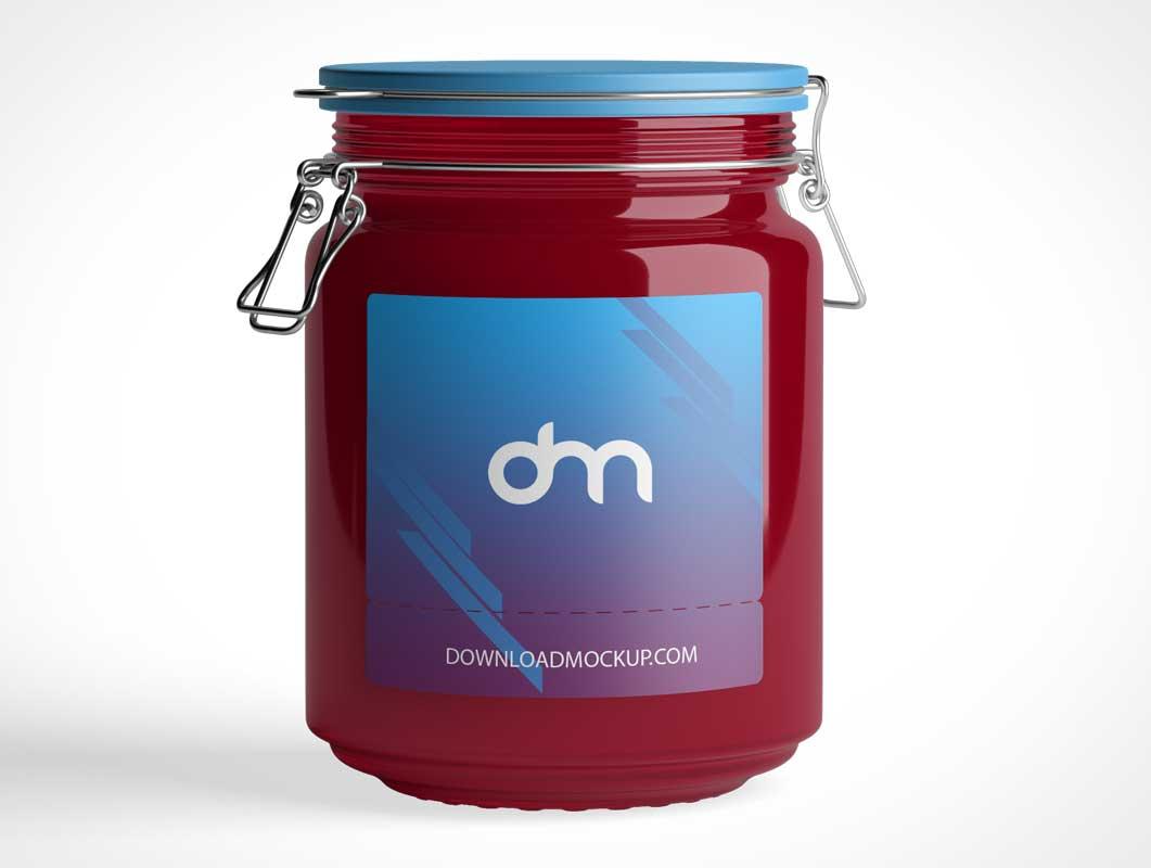 Sealed Glass Jam Jar PSD Mockup