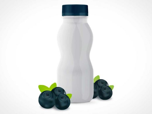 Yogurt Drink Bottle & Twist Cap PSD Mockup
